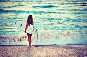 Surfer woman in shore